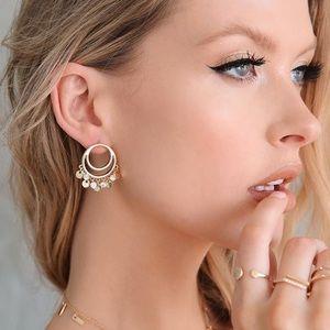 Jewelry - NEW 18kt GP Dangle Hoop Earrings